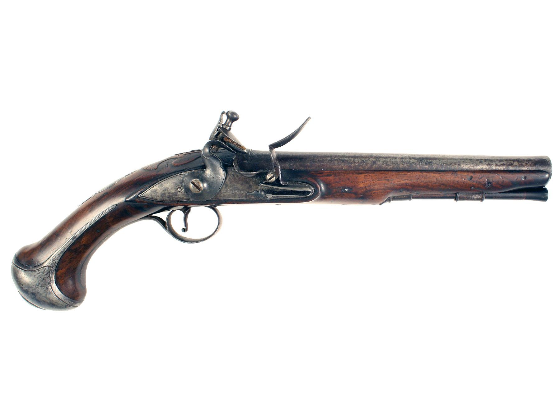 A Superb Steel Mounted Flintlock Holster Pistol by Richards.