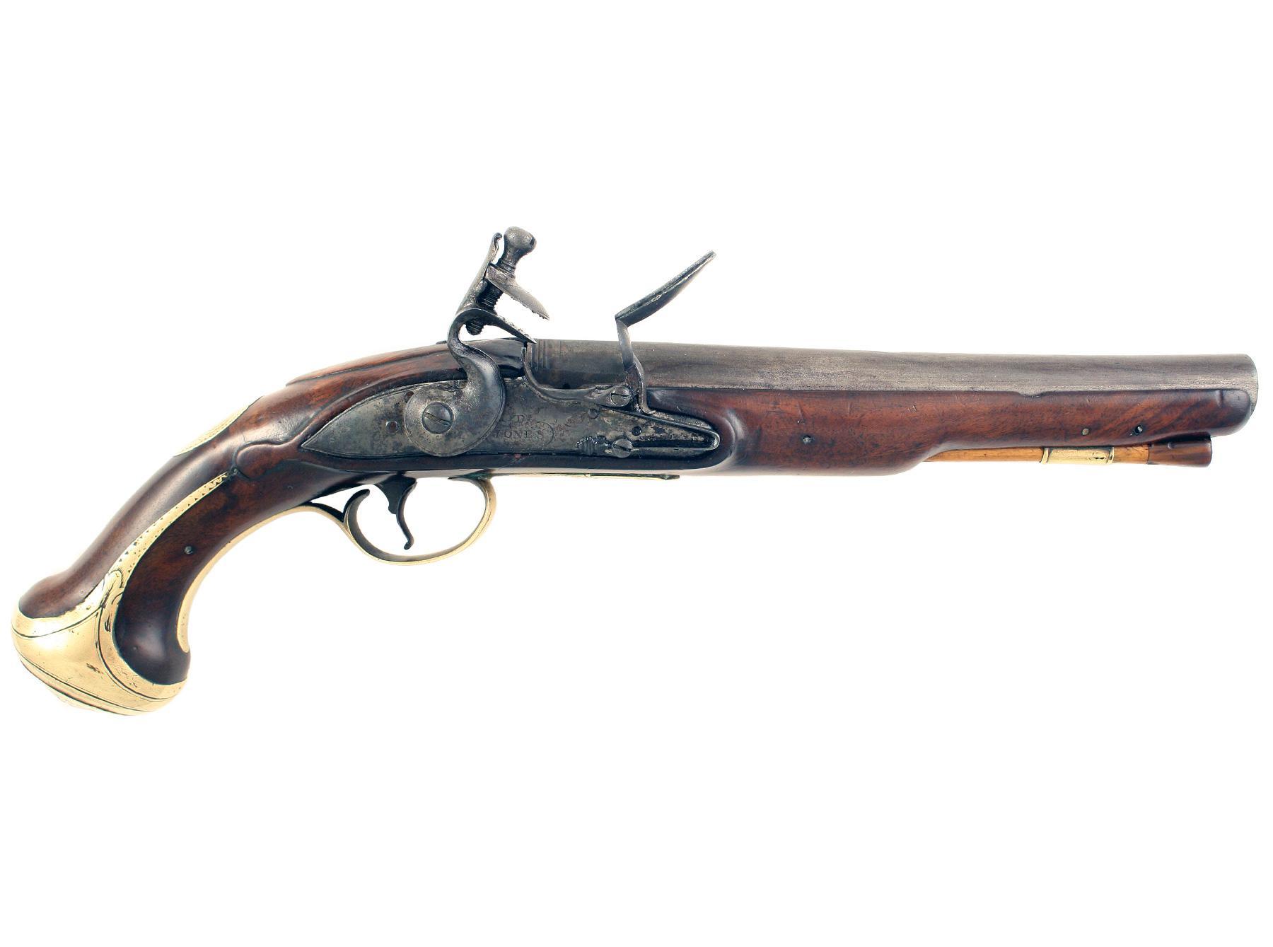 A Flintlock Holster Pistol by T. Jones of London