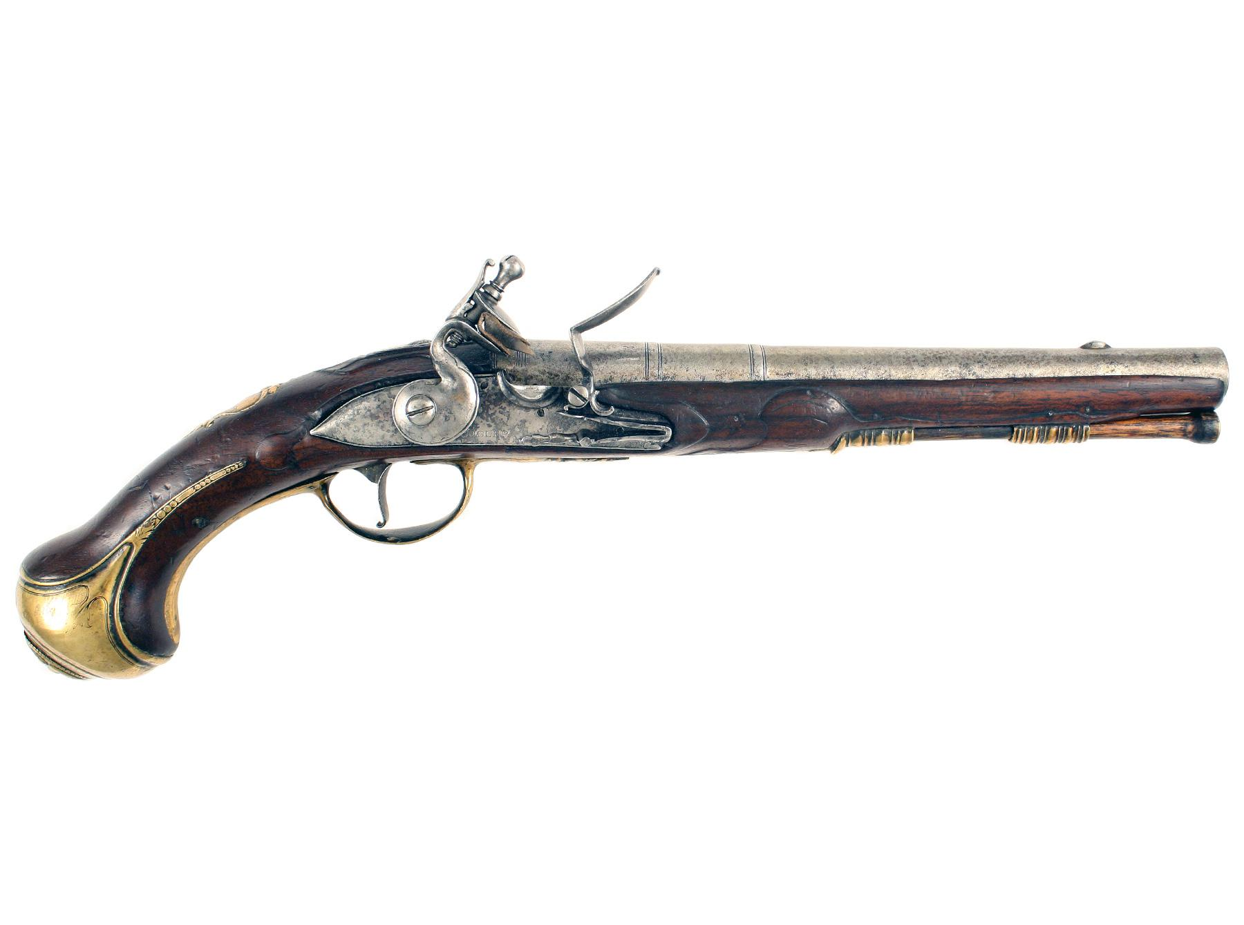 An Early Flintlock Holster Pistol by Dolep