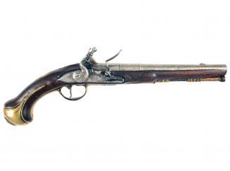 An Early Flintlock Holster Pistol by Dolep