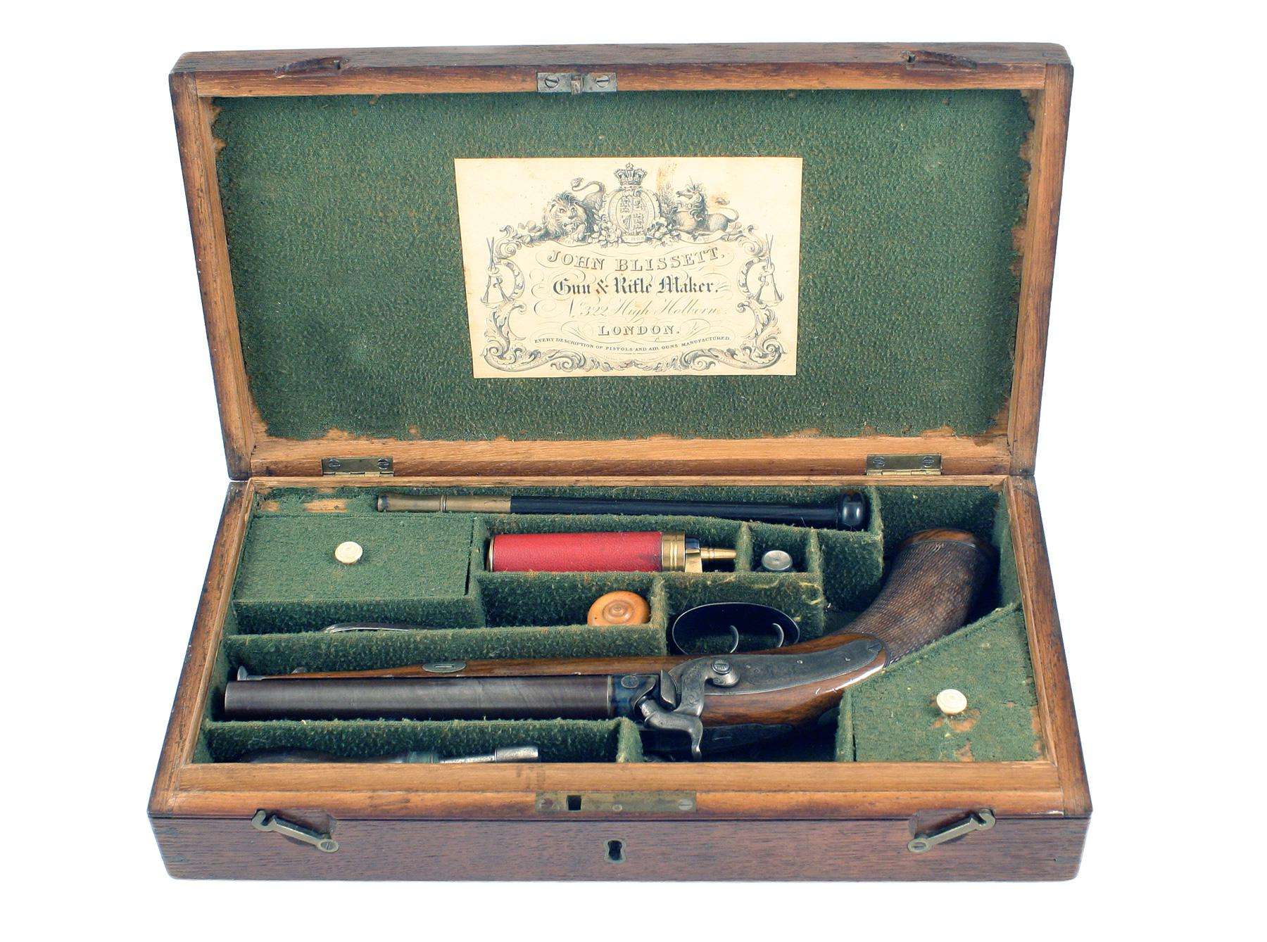 A Fine Cased Double Barrelled Pistol