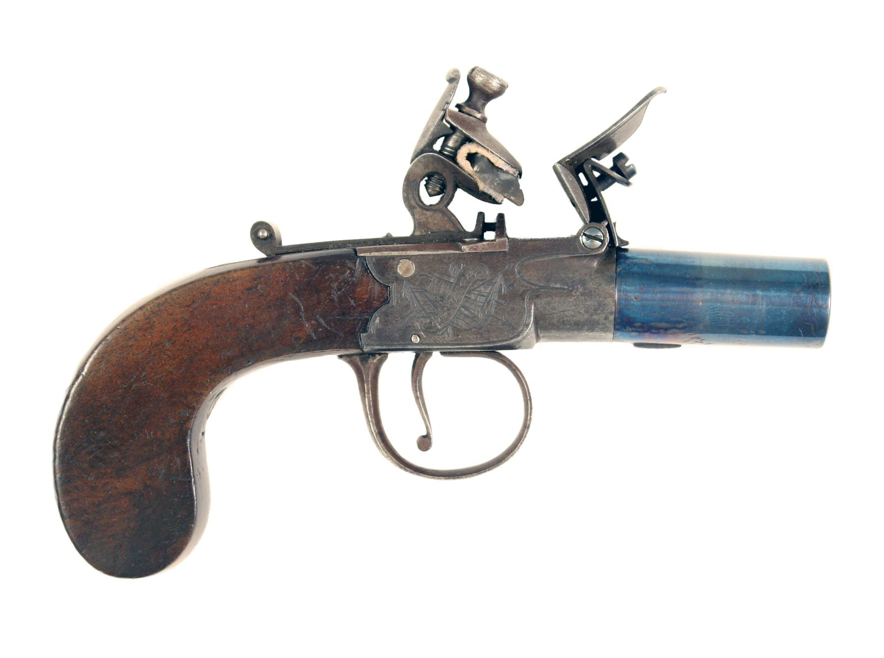 A Flintlock Pocket Pistol by Harcourt & Son