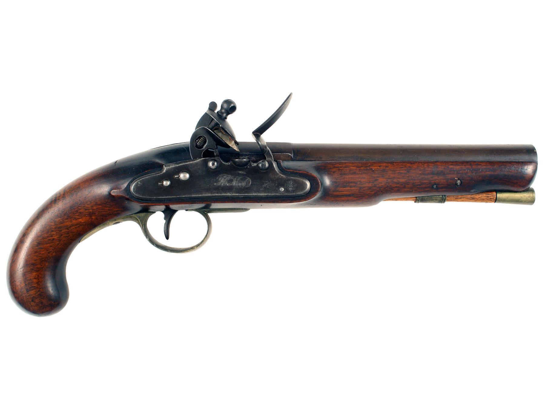 A Scarce Nock Screwless Lock Flintlock Pistol
