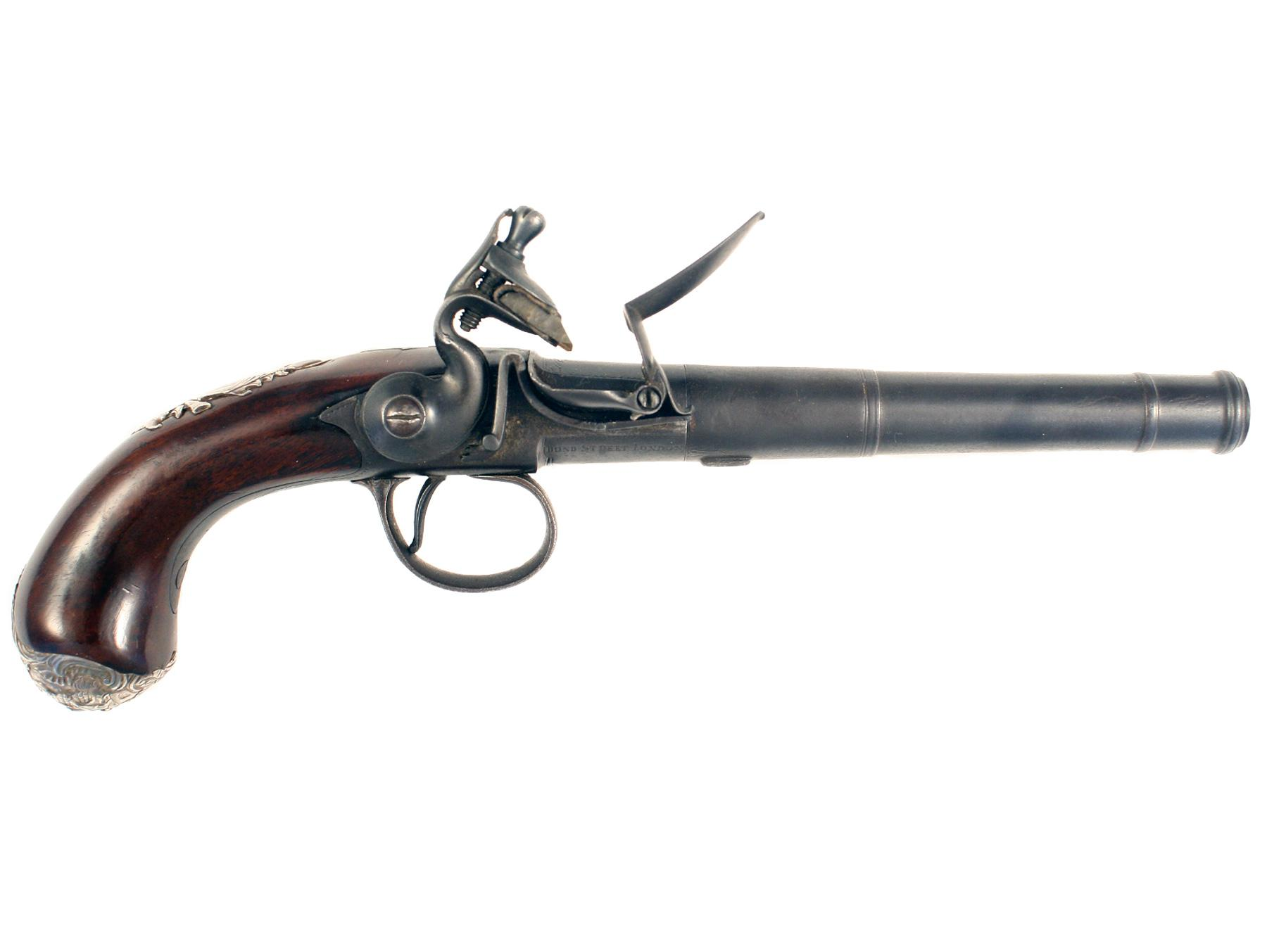 An Untouched 20-Bore Flintlock Queen Anne Pistol by Griffin.