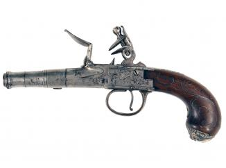 An Untouched Silver Mounted Pistol by King
