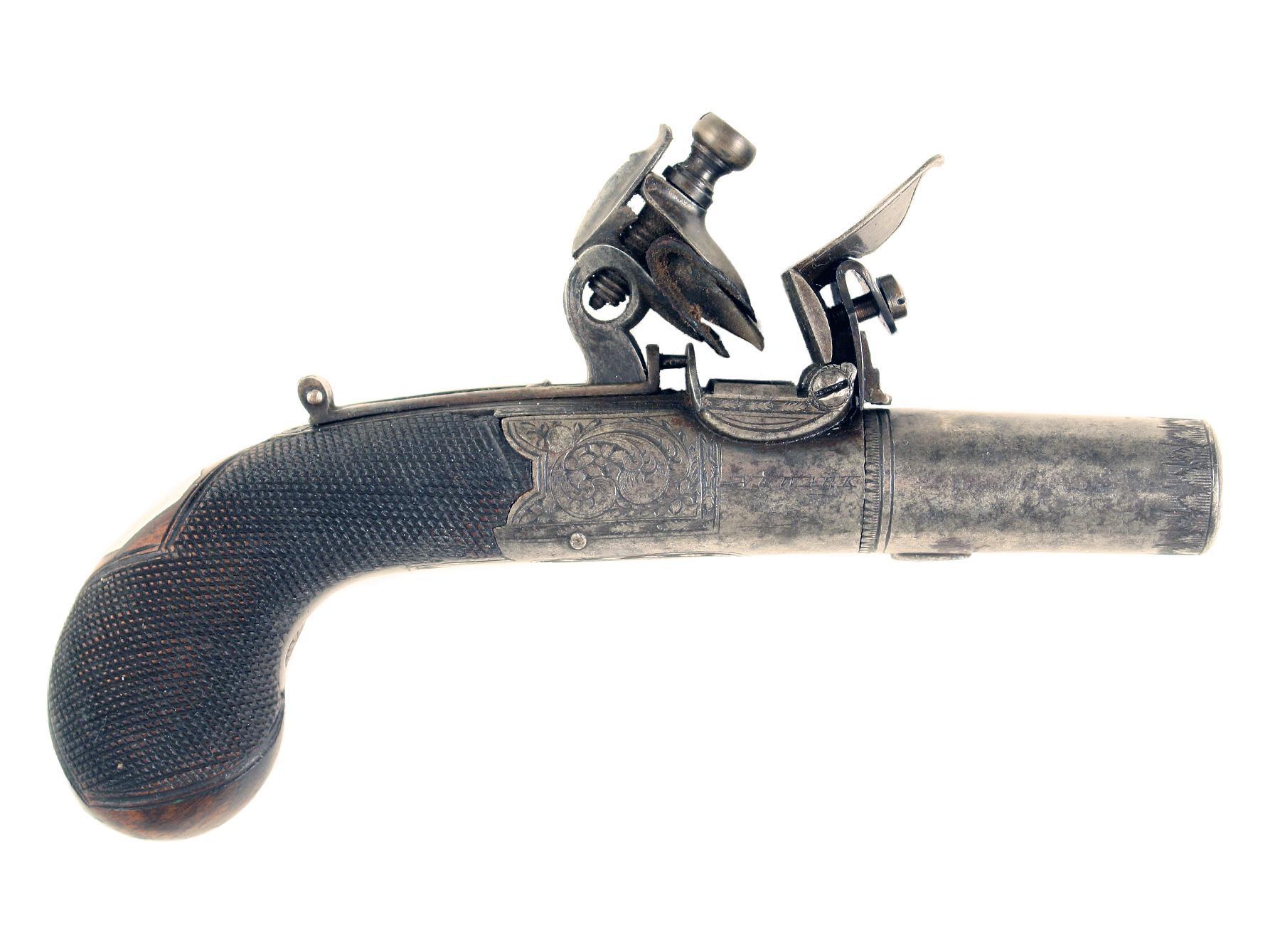 A Crisp Flintlock Pocket Pistol by Boaler of Newark