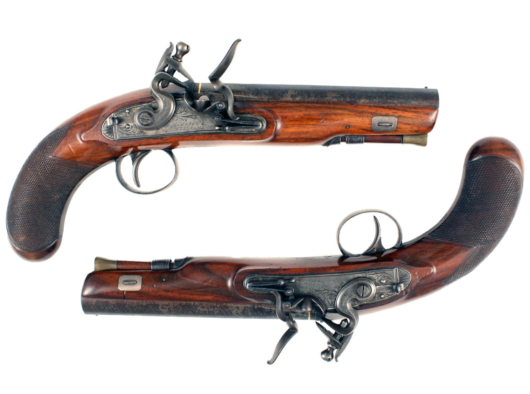 A Pair Of Flintlock Overcoat Pistols