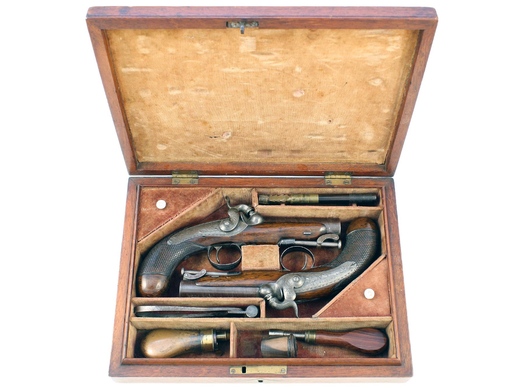 A Cased Pair of Irish Pistols