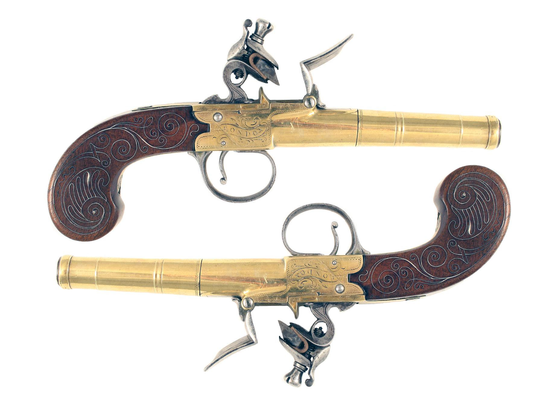 A Pair of Silver Mounted Pistols