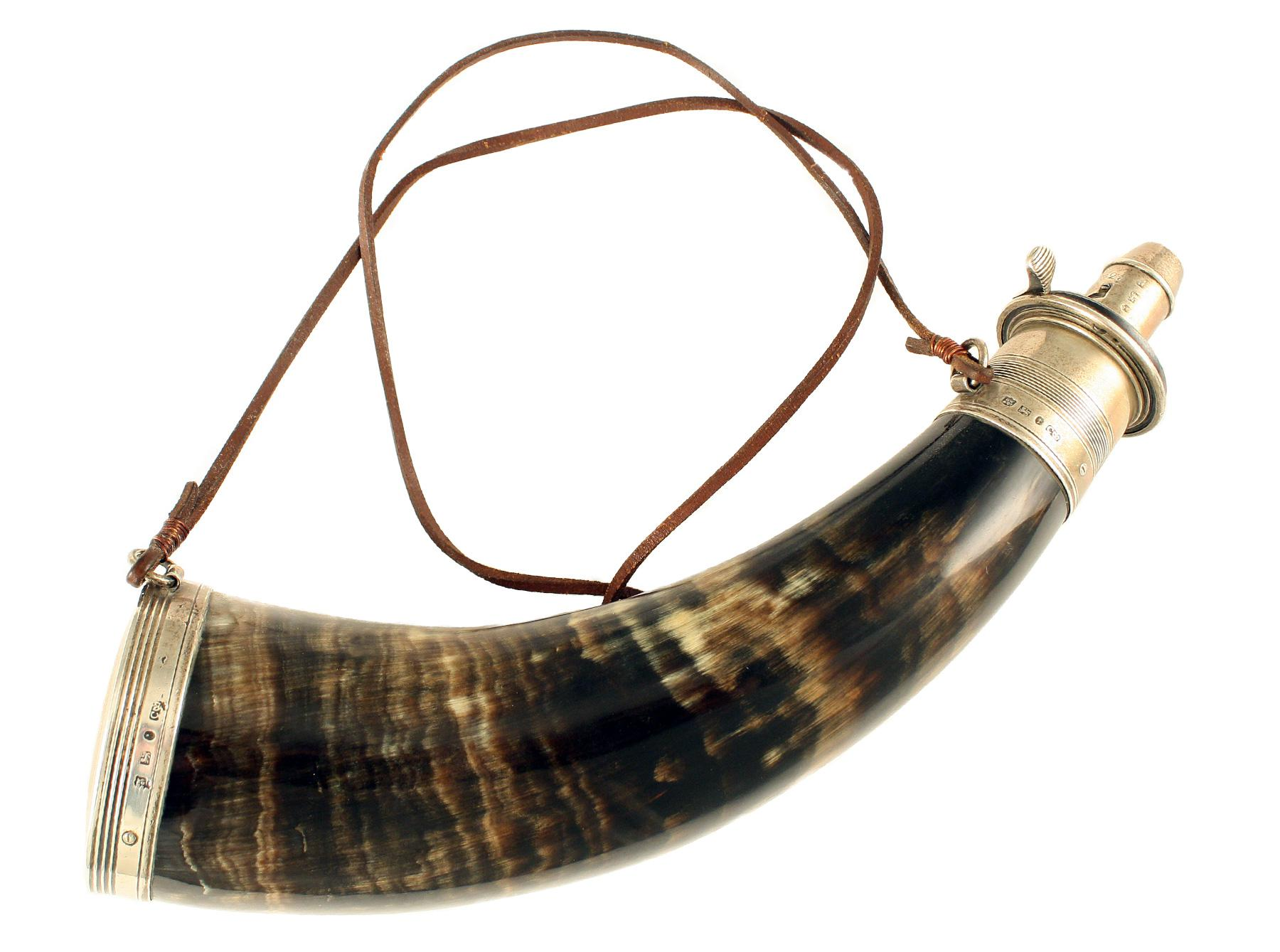 A Silver Mounted Powder Horn