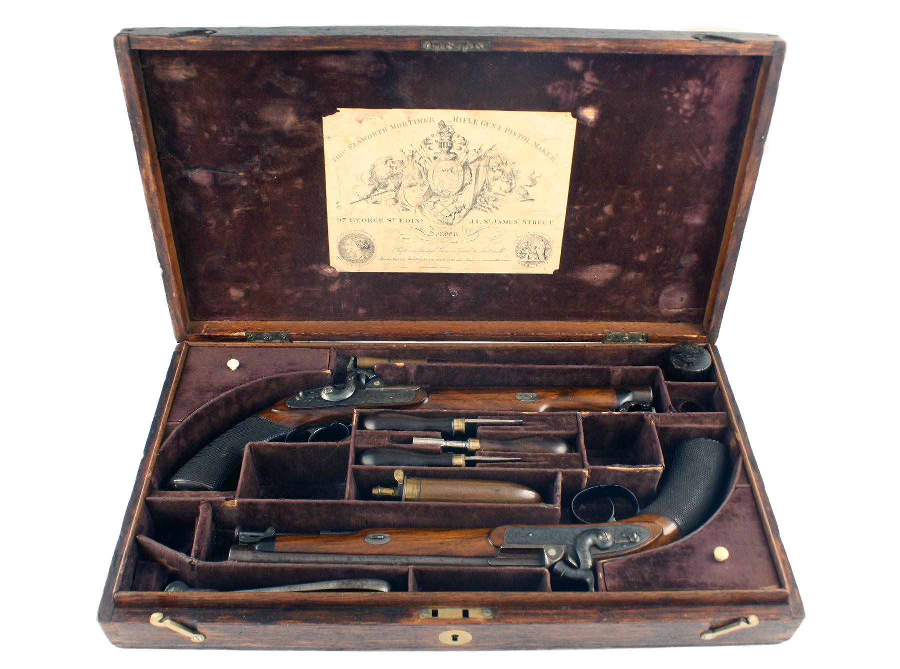 A Cased Pair Of Officers Pistols