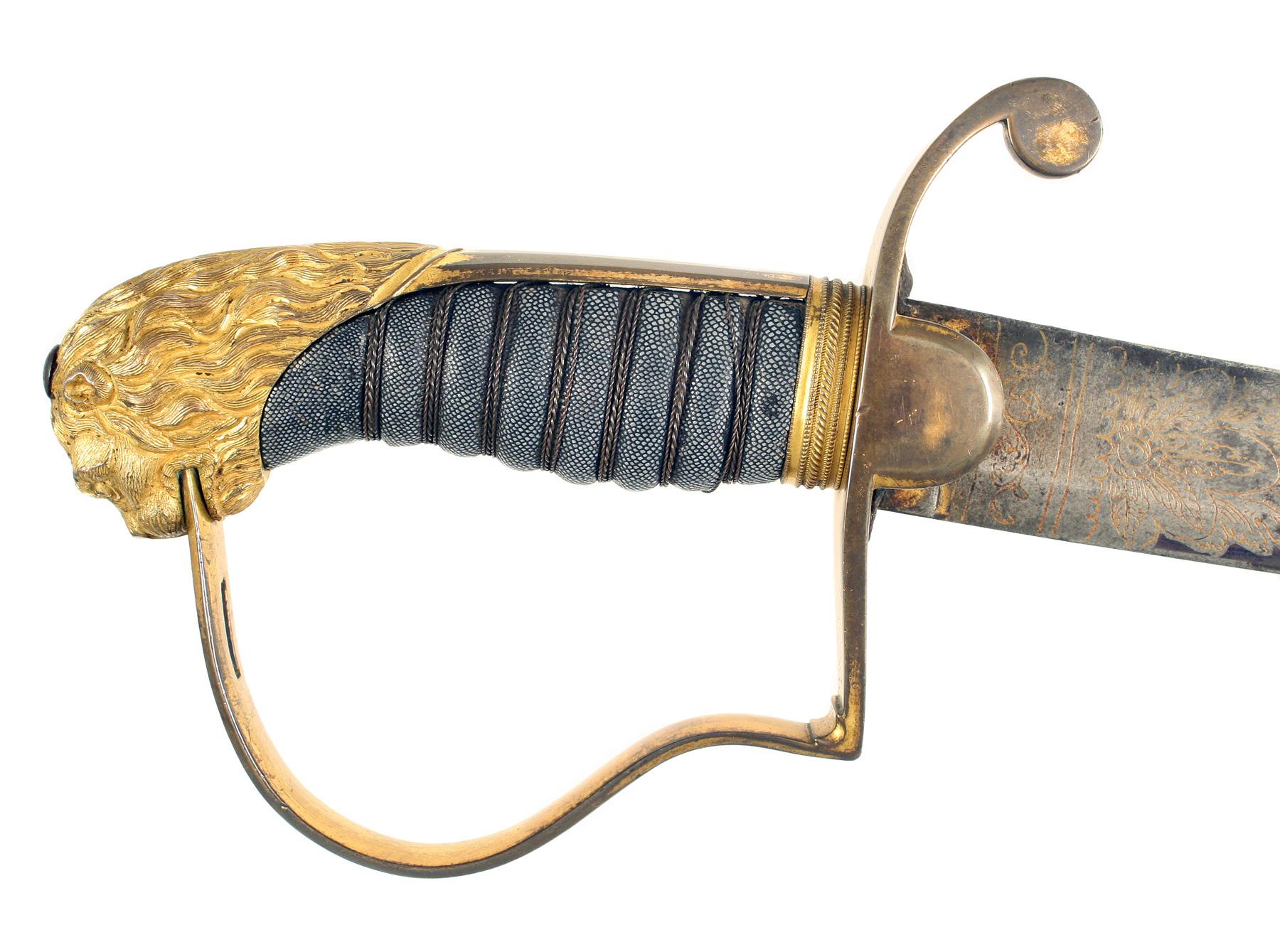 A Blue And Gilt Flank Officers Sword