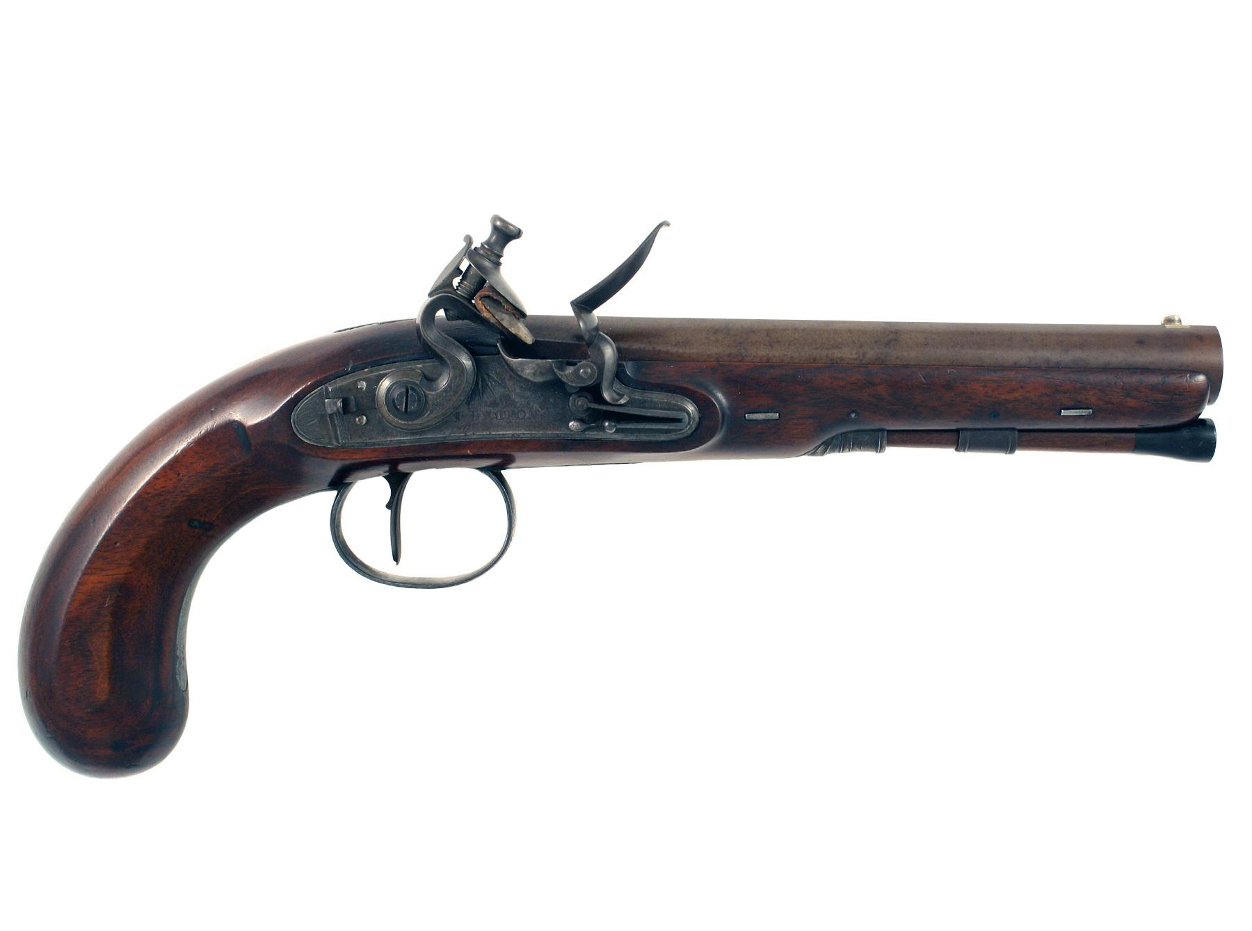 A Barton Flintlock Officers Pistol