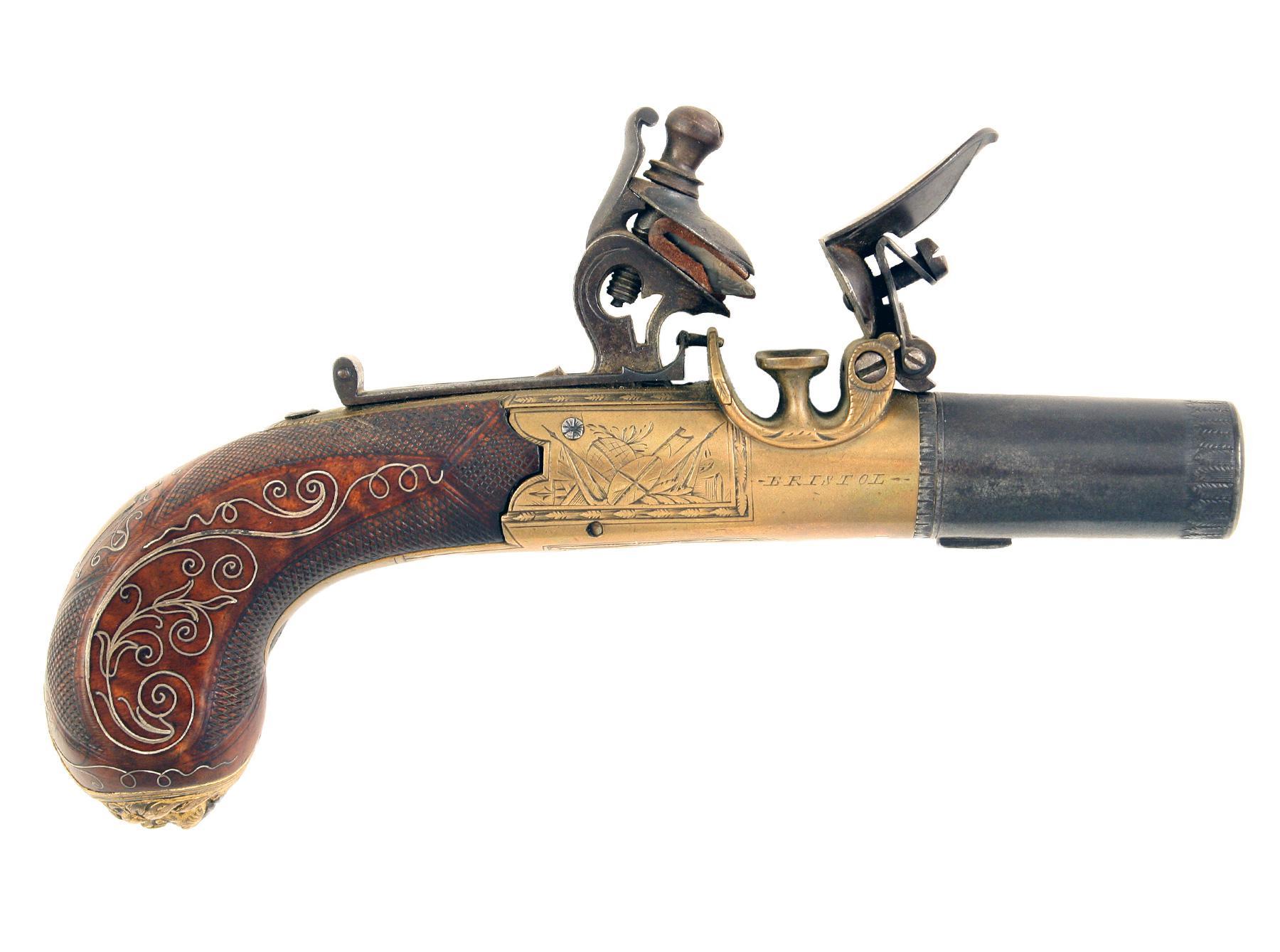 A Beautiful Brass Framed Flintlock Pocket Pistol