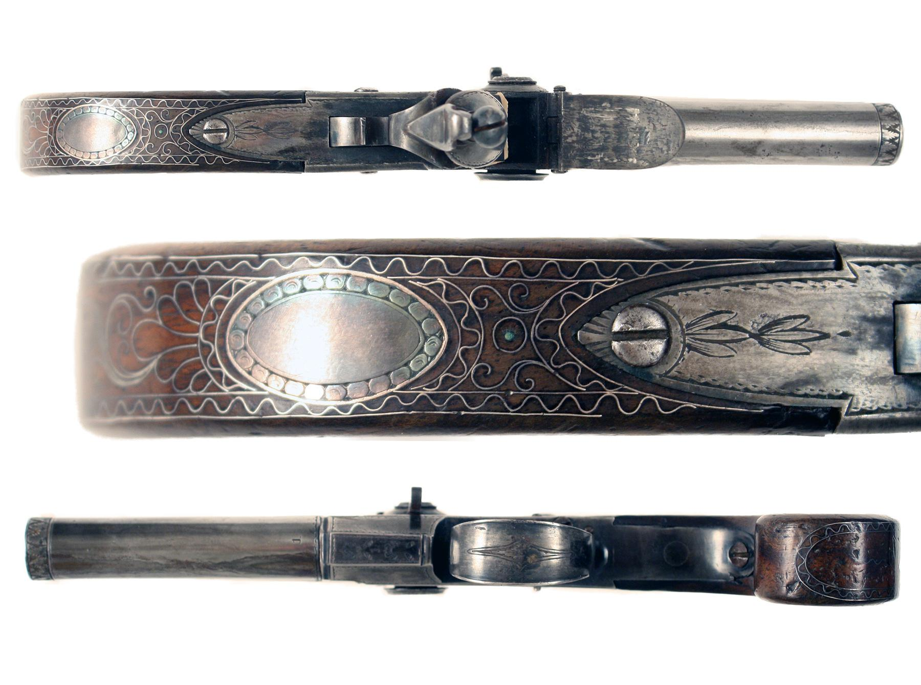 A Silver Inlaid Over & Under Pistol by Probin