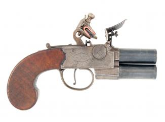 A Flintlock Tap-Action Pistol by Nicholson