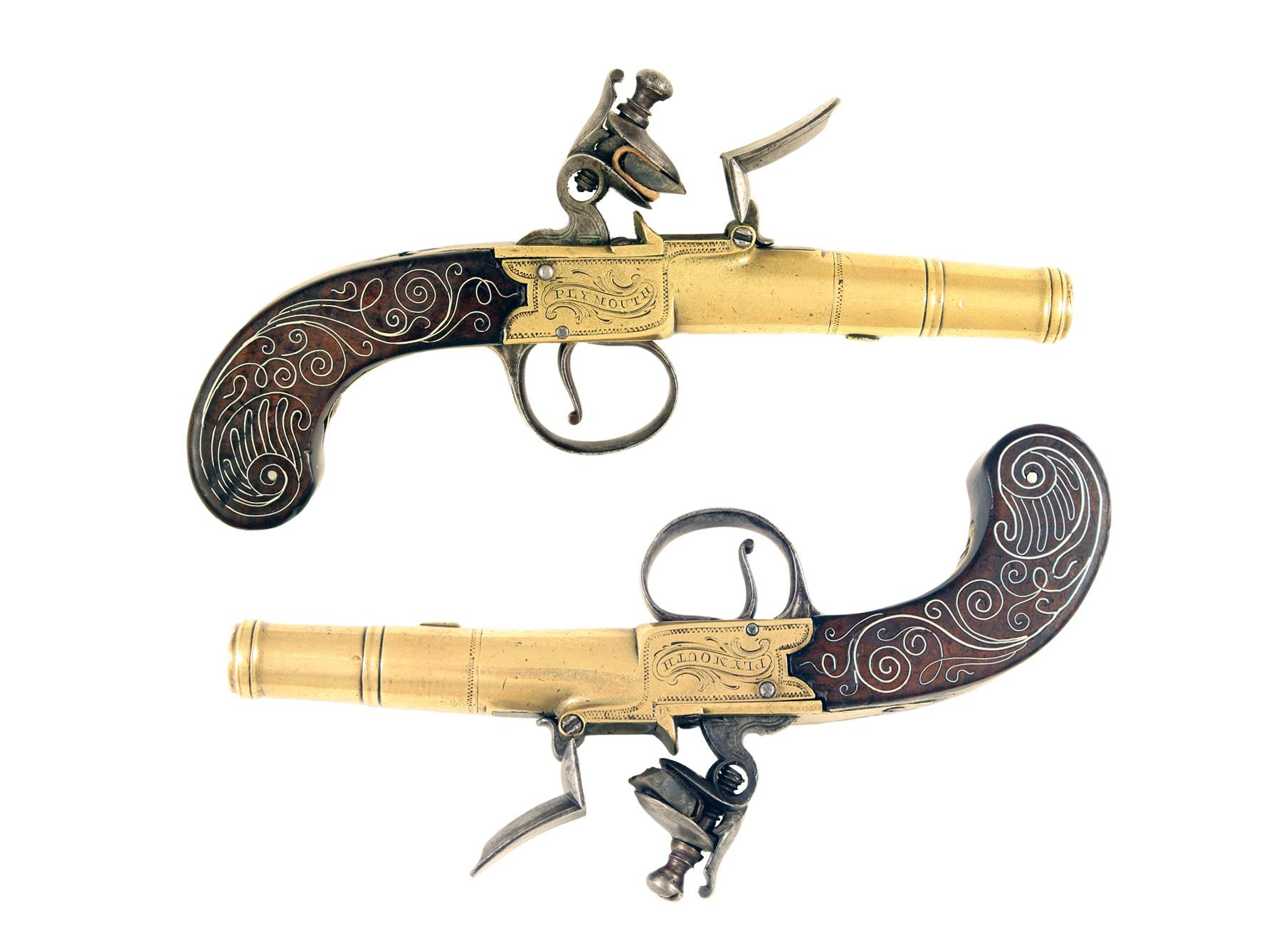 A Small Pair of Silver Mounted Pistols