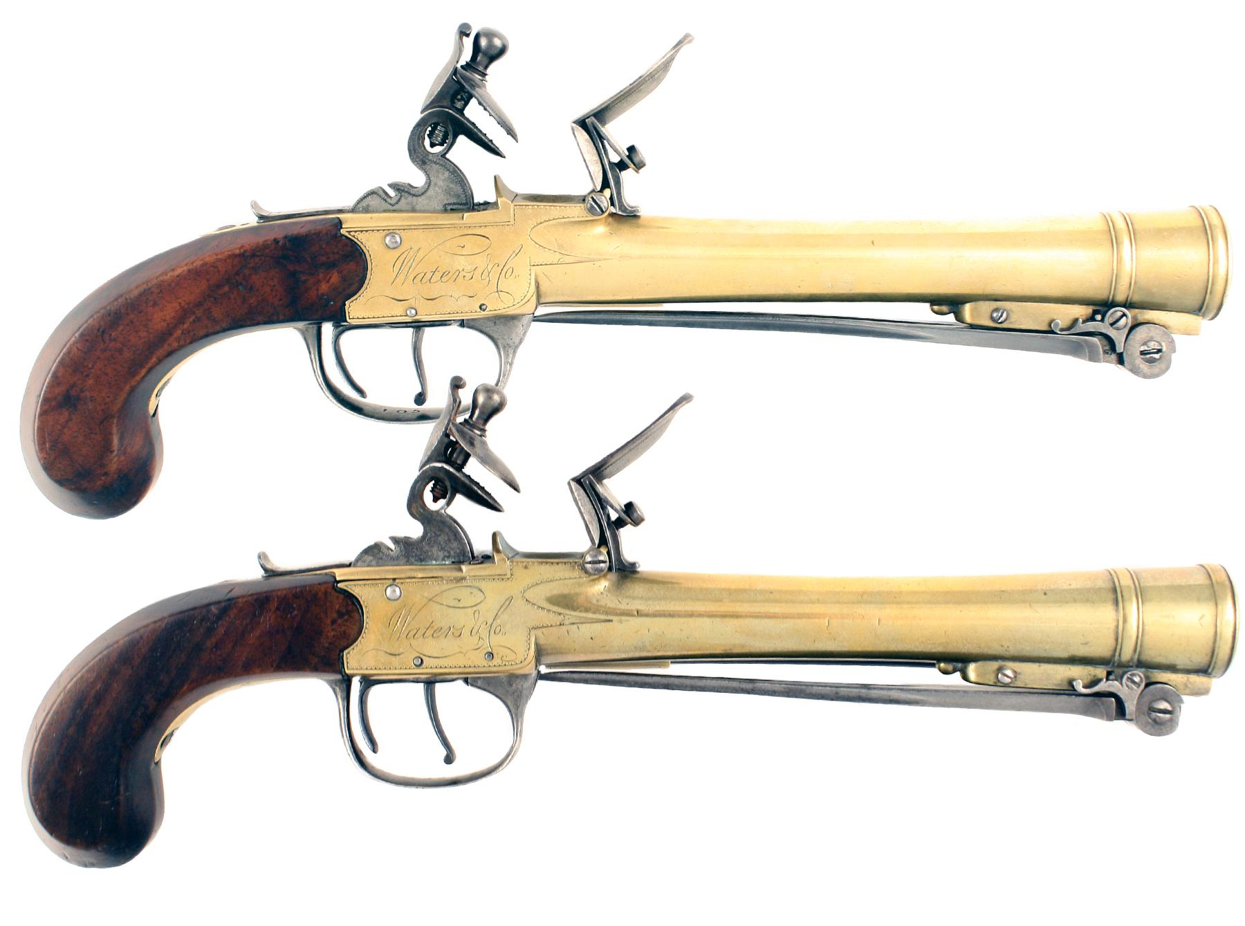 A Rare Pair of Waters Blunderbuss Pistols