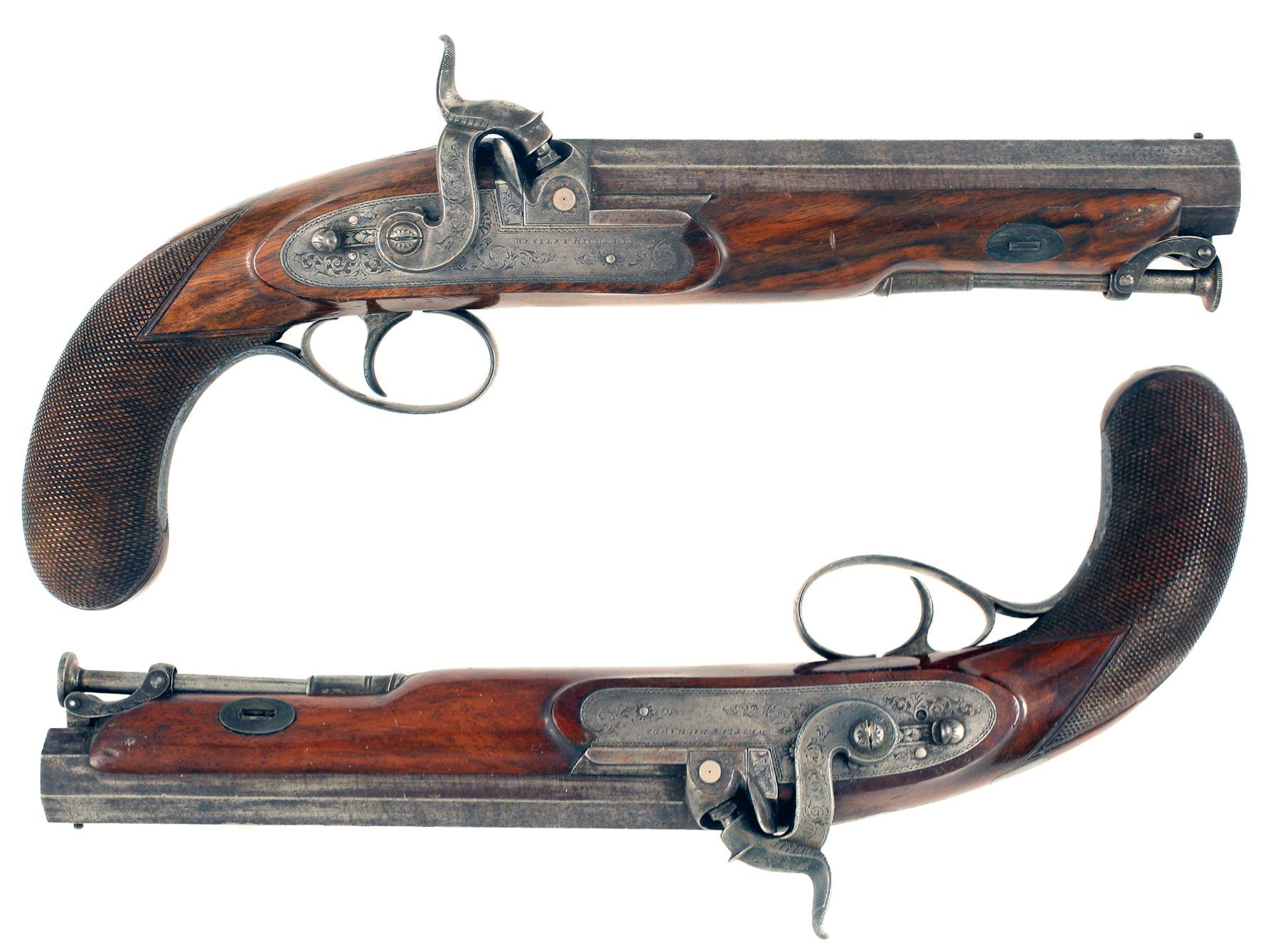 A Cased Pair of Wesley Richards Officers Pistols