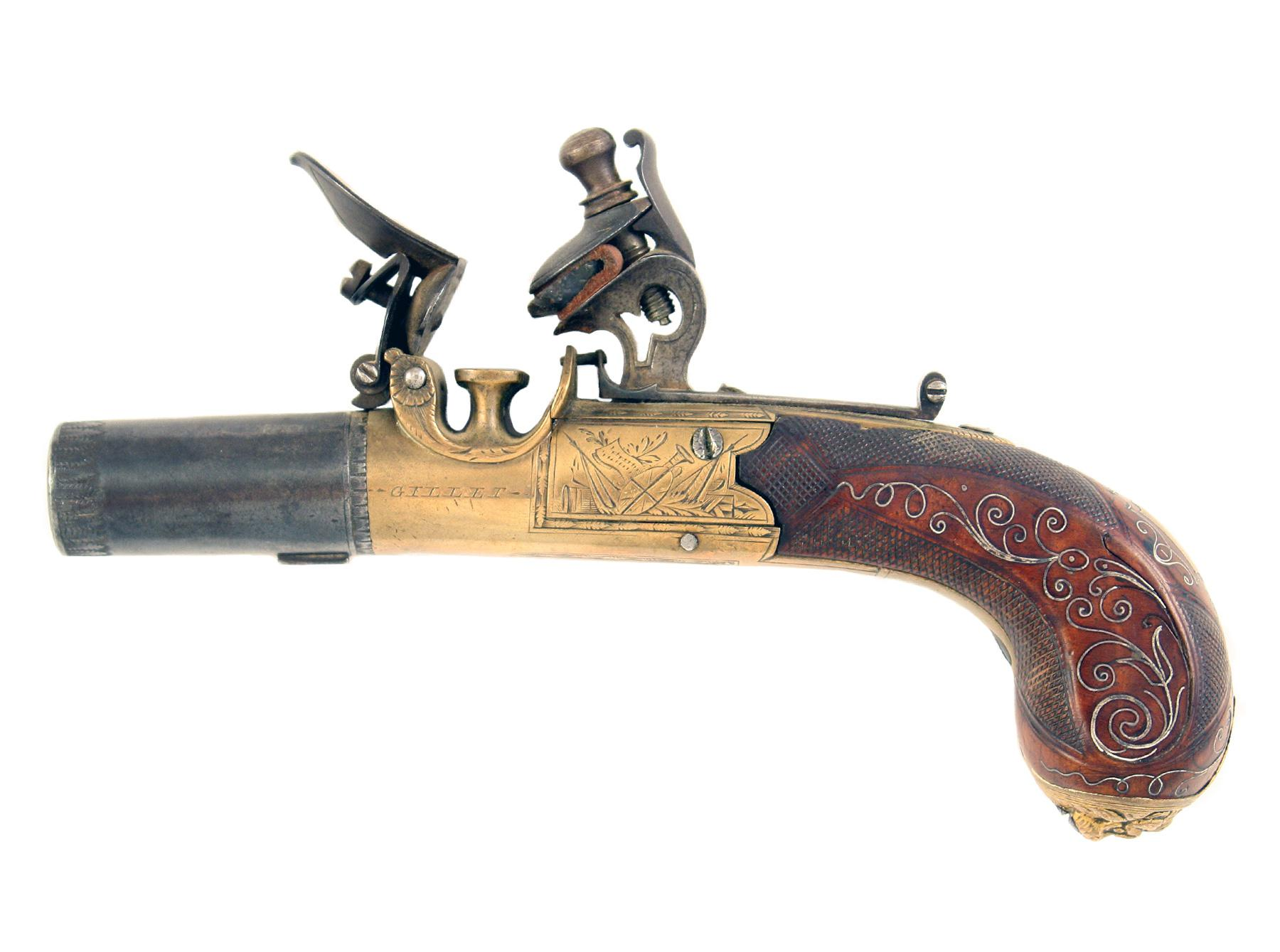A Beautiful Brass Framed Flintlock Pocket Pistol