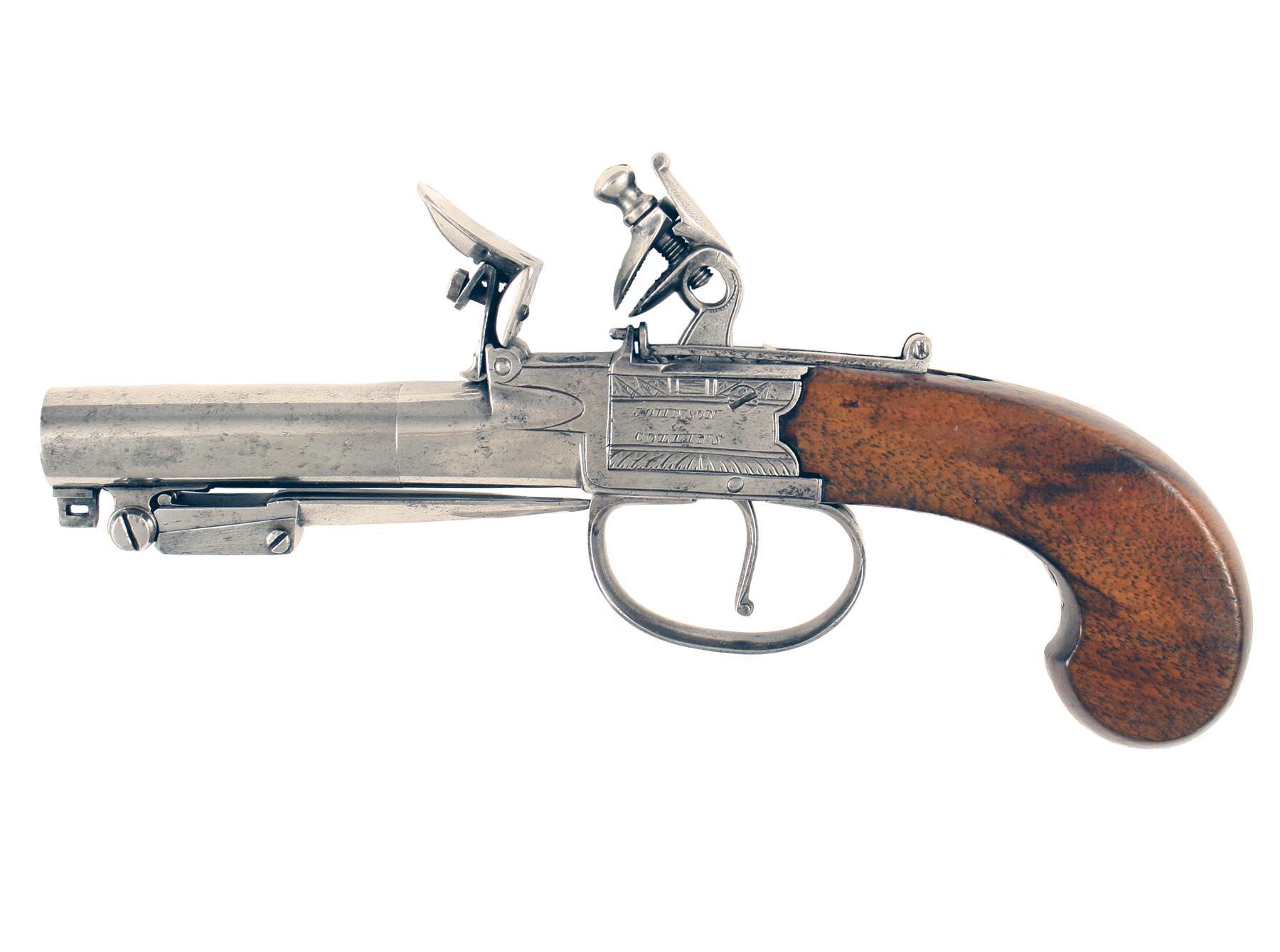 A Flintlock Pocket Pistol by Johnson & Collins