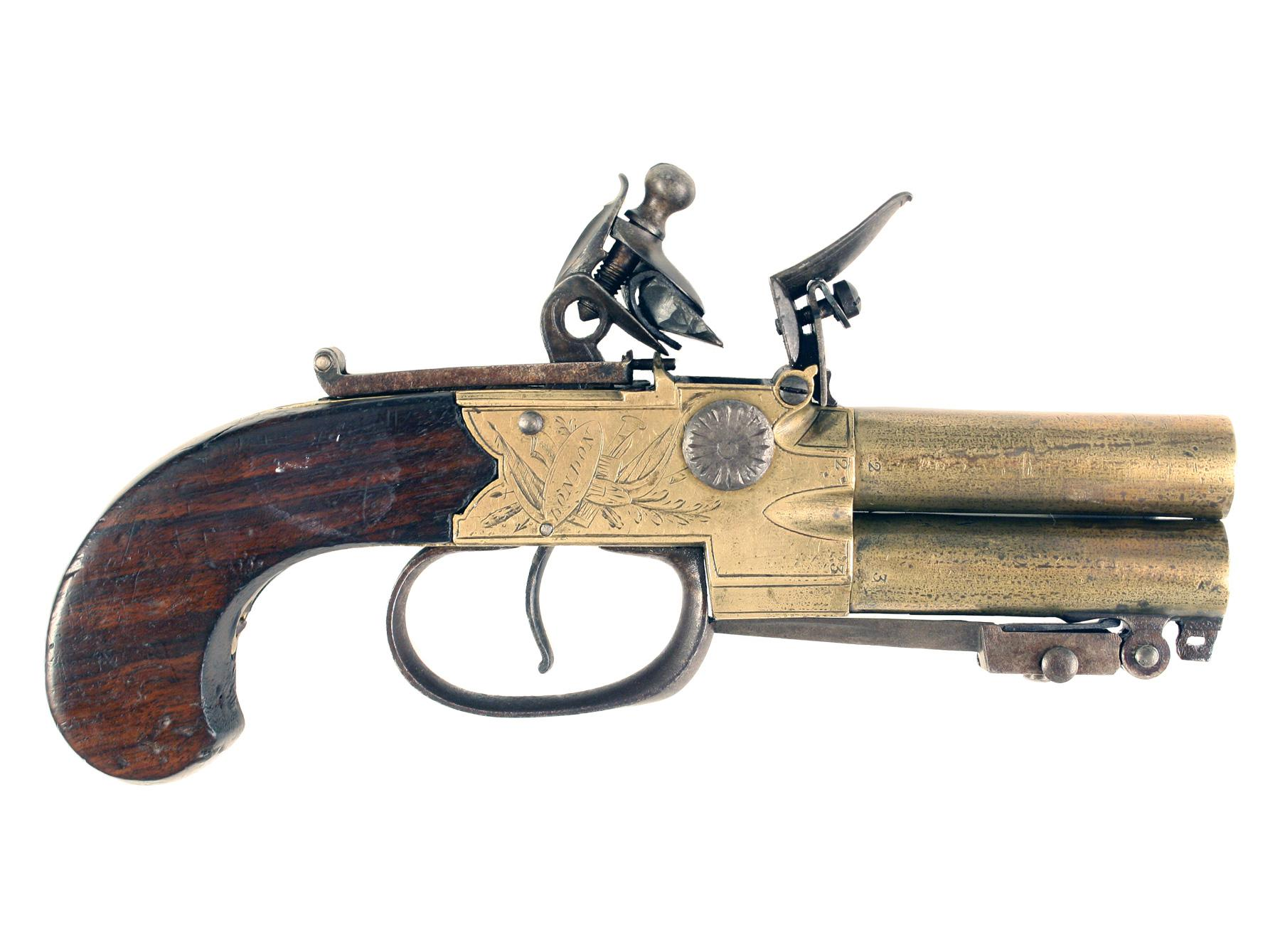 A Flintlock Tap-Action Pistol with Bayonet
