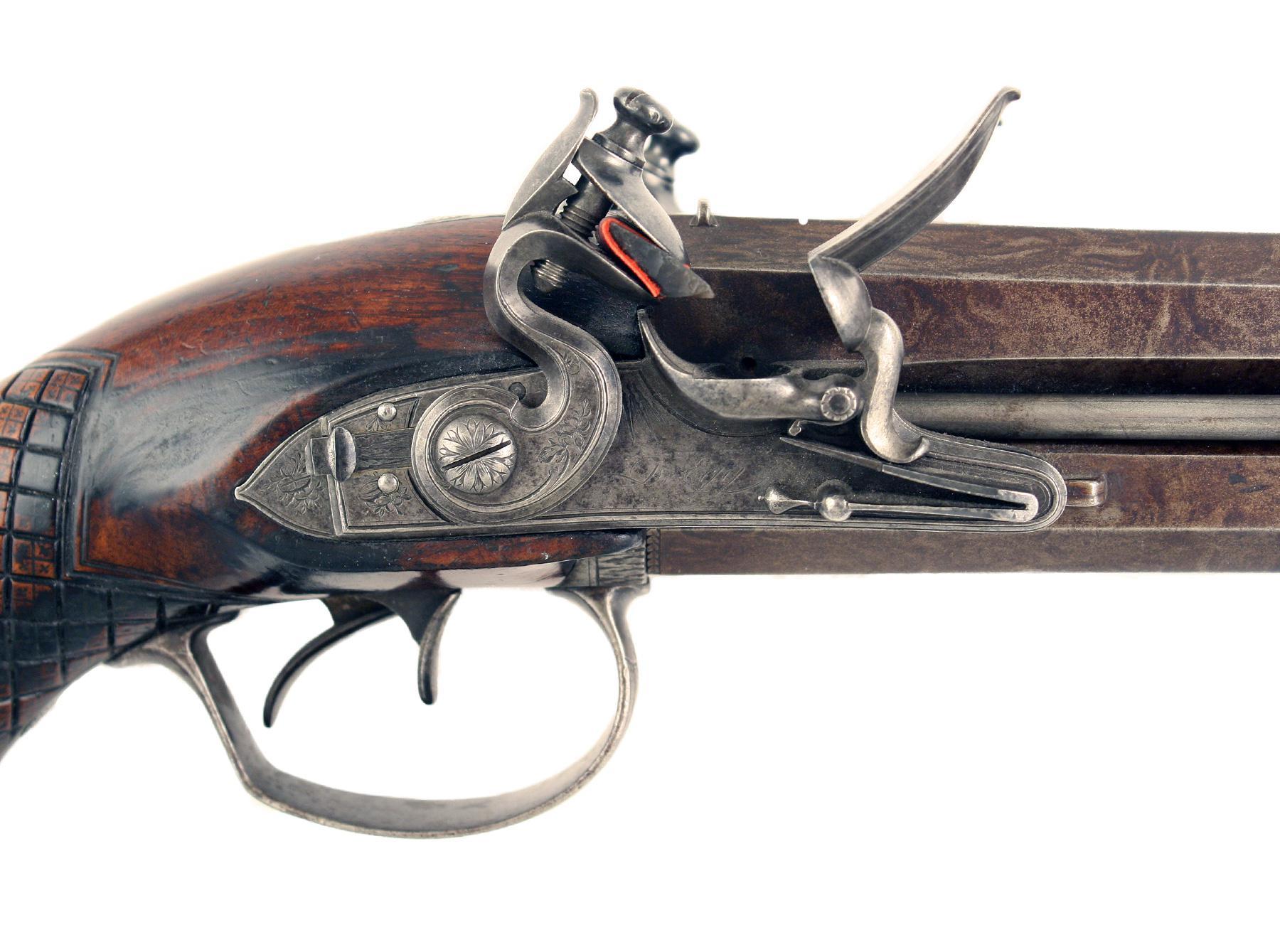 A Fine Flintlock Over & Under Pistol