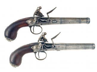 A Pair of Flintlock Queen Anne Pistols.
