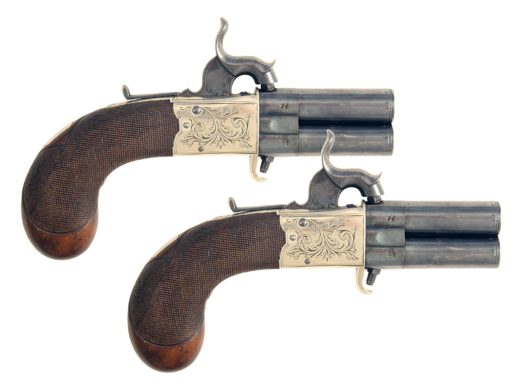 A Pair of Percussion Turn-Over Pistols