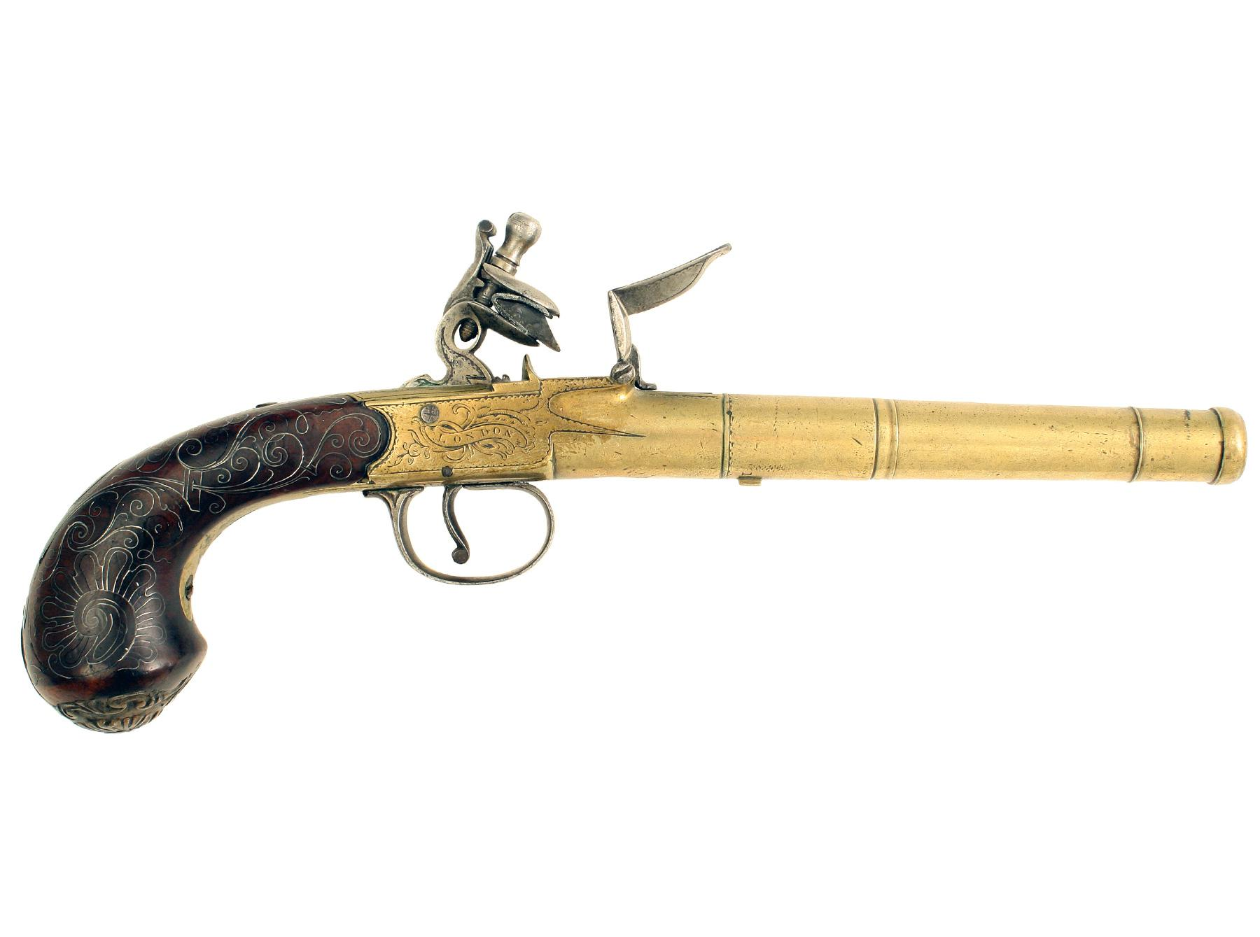 An Untouched Silver Mounted Pistol by Bunney