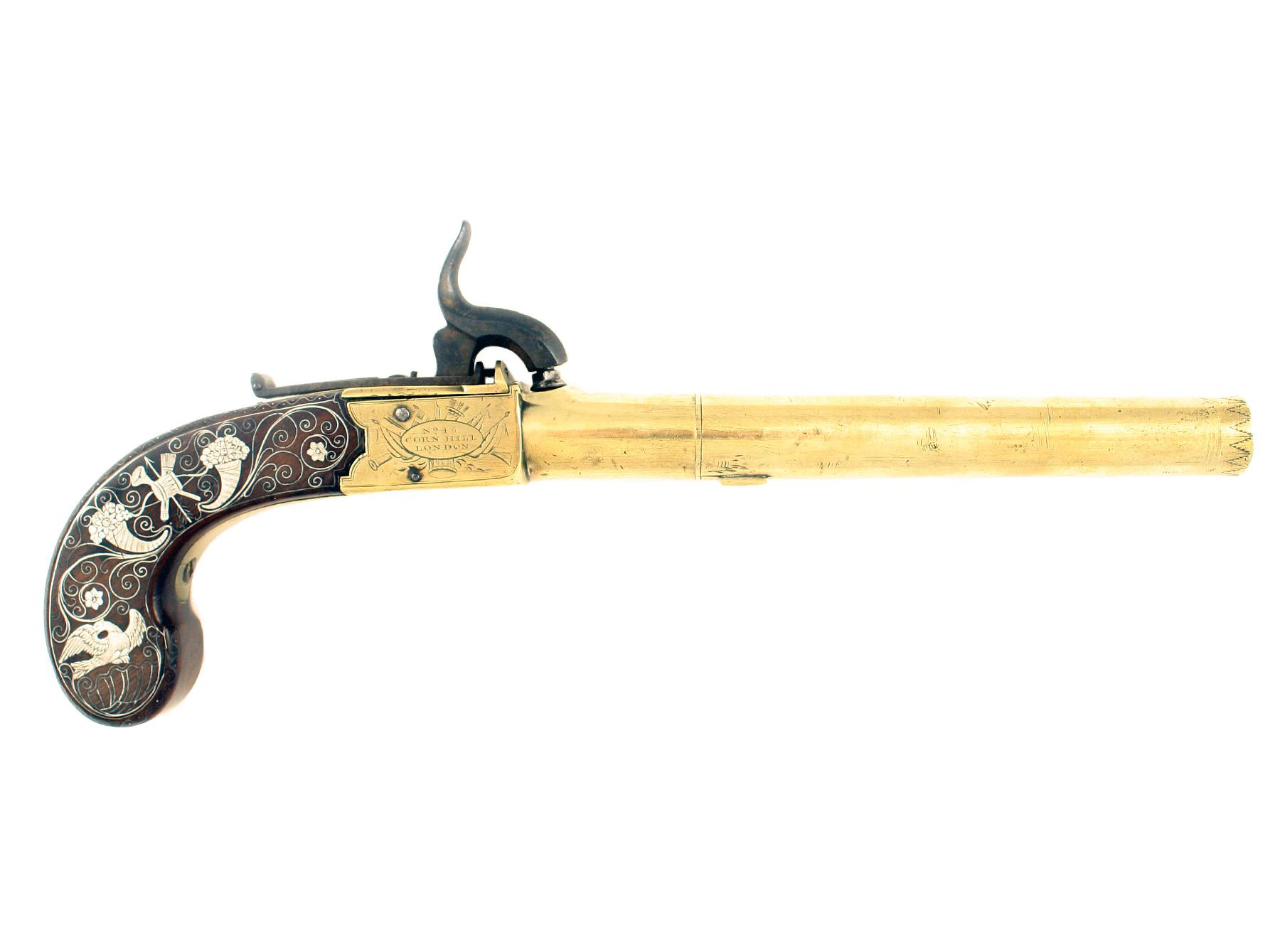 A Silver Mounted Pistol by Bond of London