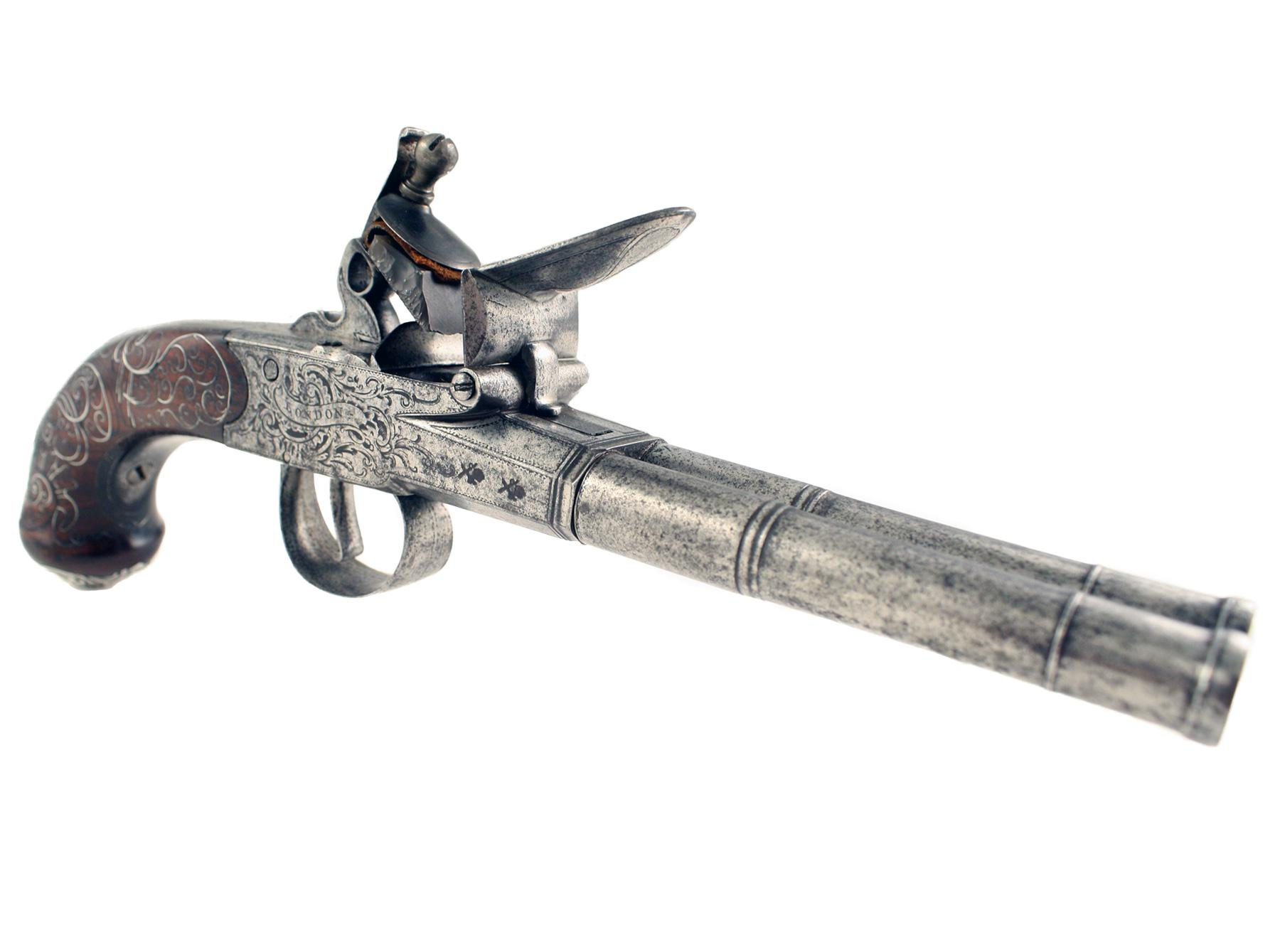 A Double Barrelled Flintlock Pistol by Barbar