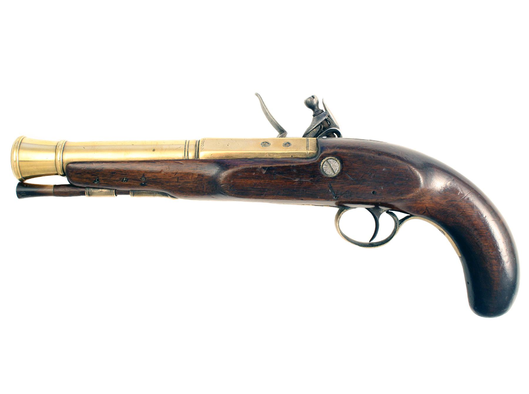 A Flintlock Blunderbuss Pistol by Fisher
