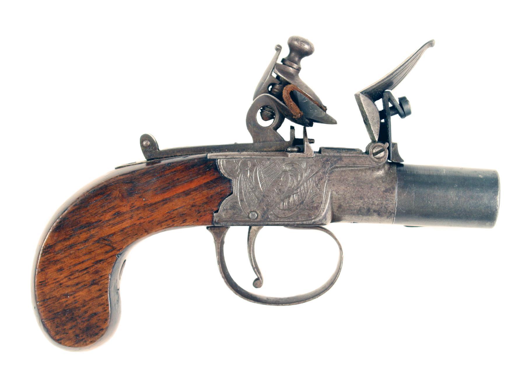 A Flintlock Pocket Pistol by Mace of Reading