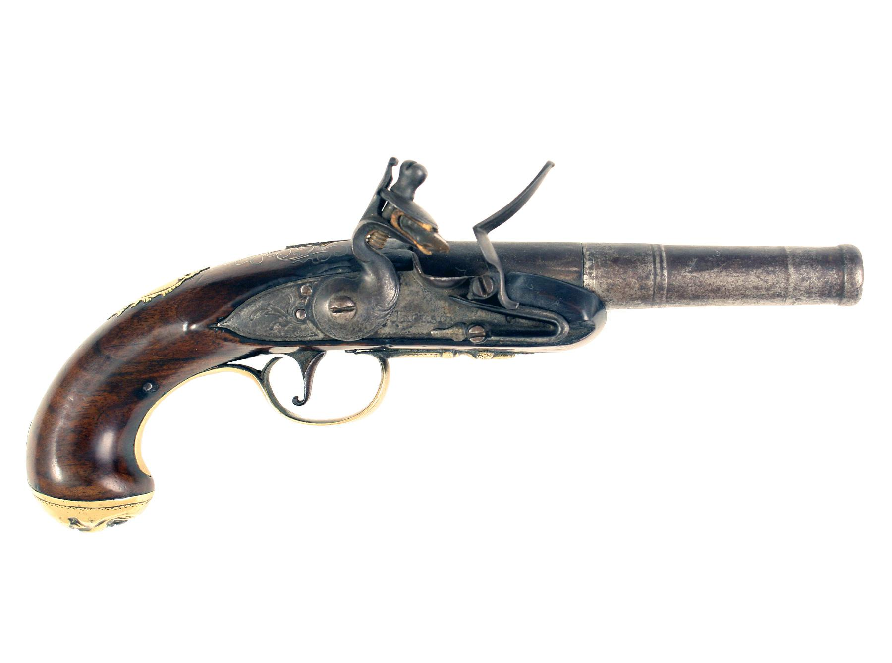 A Silve Inlaid Flintlock Pocket Pistol by Jackson