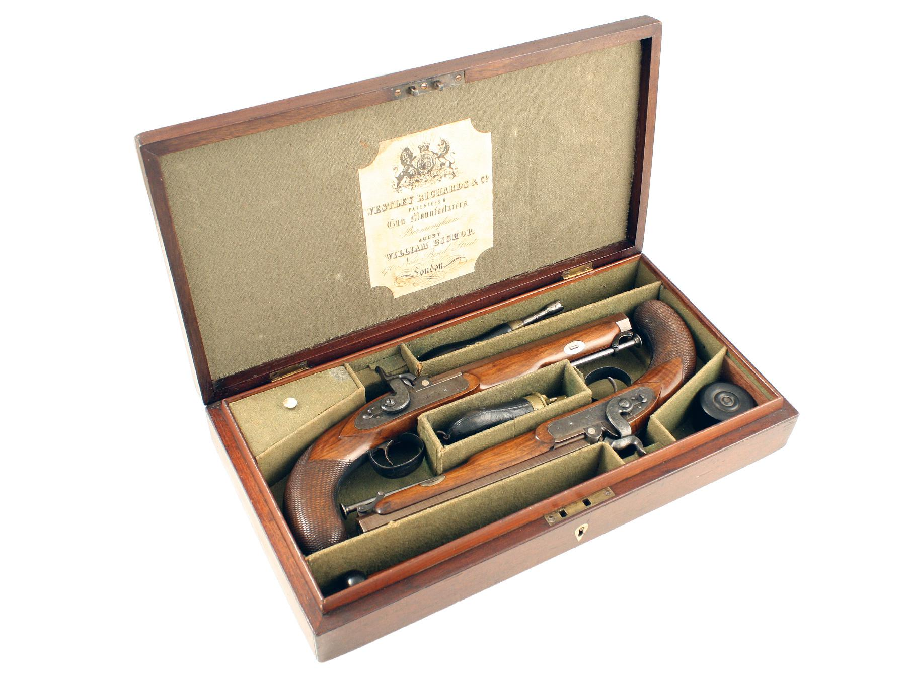 A Cased Pair of Westley Richards Officers Pistols.