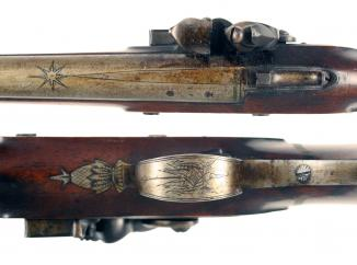 An Untouched Officers Pistol with Spring Bayonet