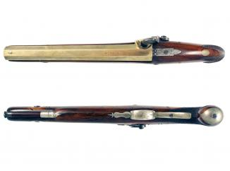 A Pair of Brass Barrelled Pistols by Perkins.