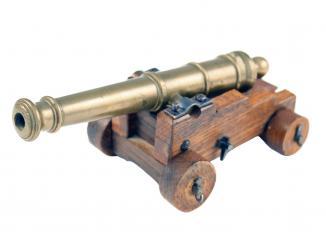 A Brass Desk Cannon, 19th Century.