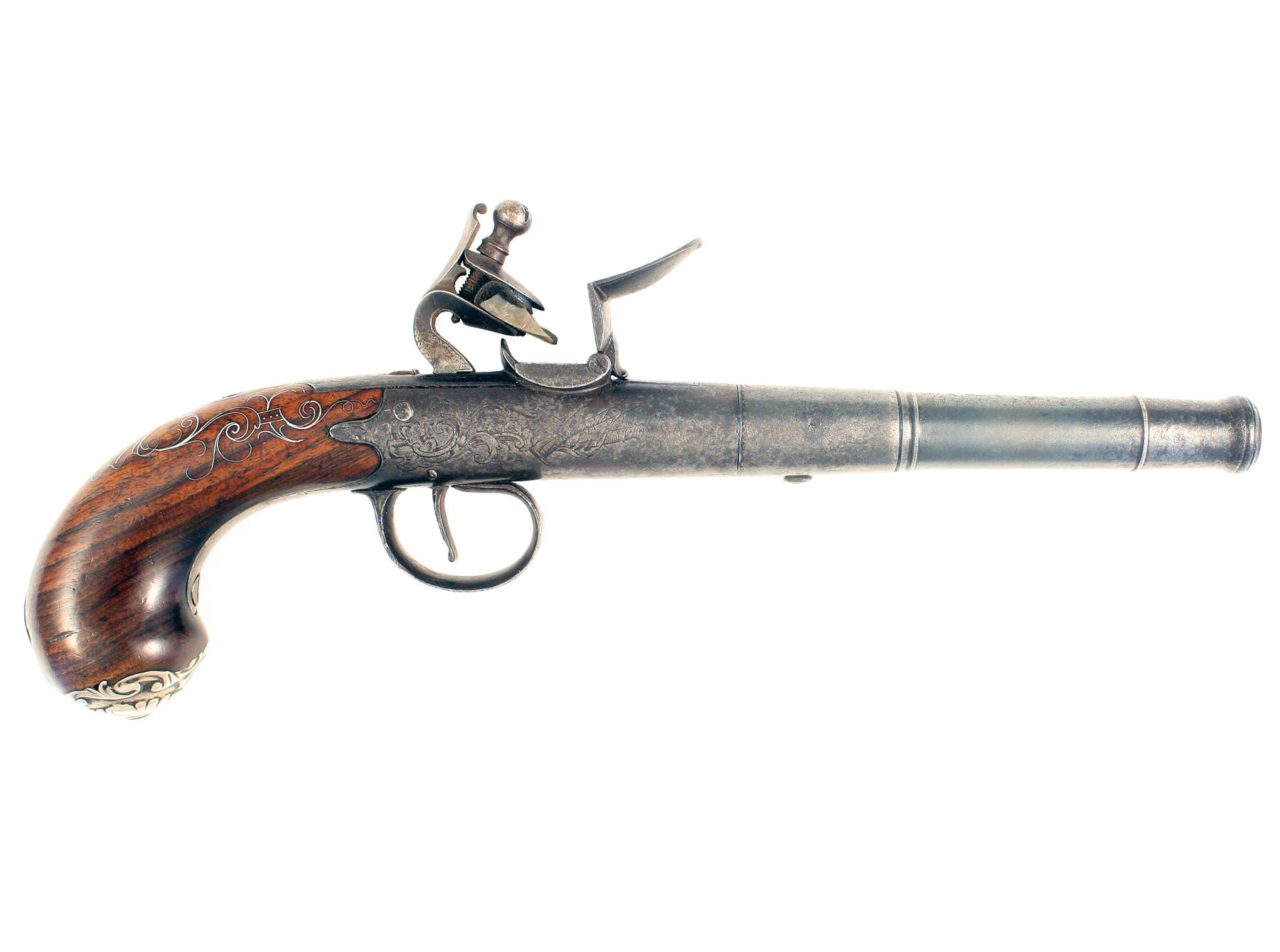 A Flintlock Box-Lock Pistol by Harris.