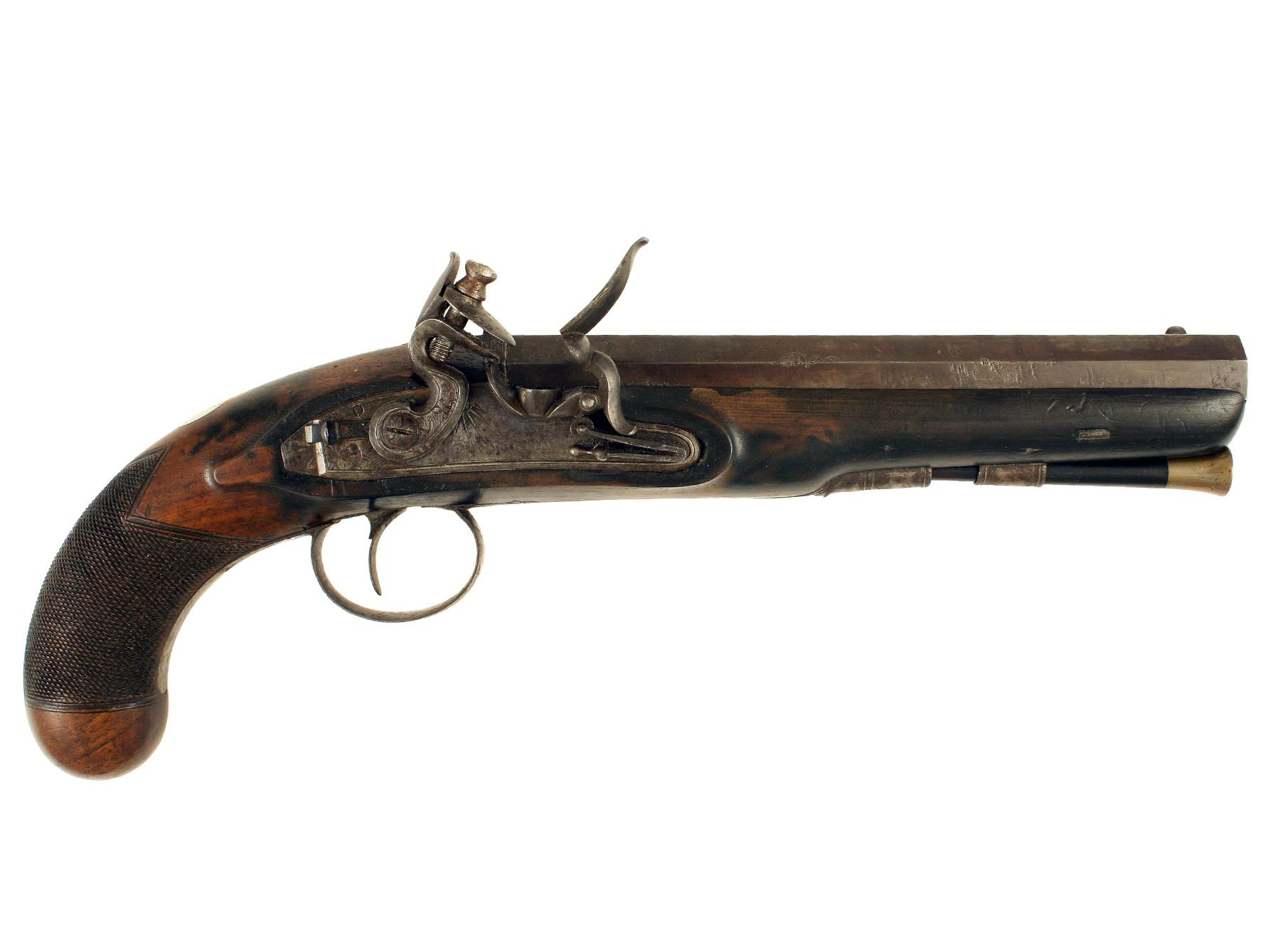 A Flintlock Officers Pistol signed Manton