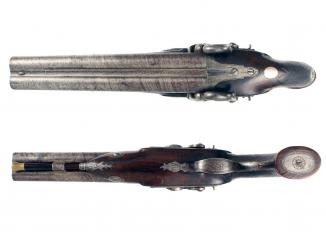 A Double Barrel Percussion Pistol by Hewson