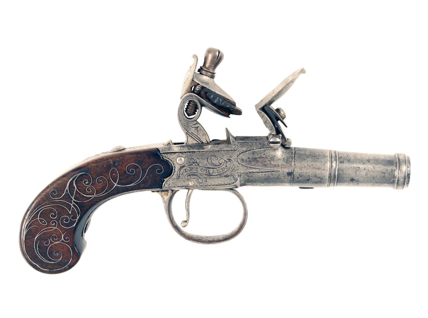A Silver Mounted Pocket Pistol by Richards