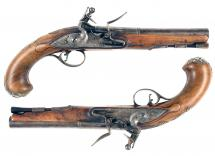 A Pair of Silver Mounted Flintlock Holster Pistols