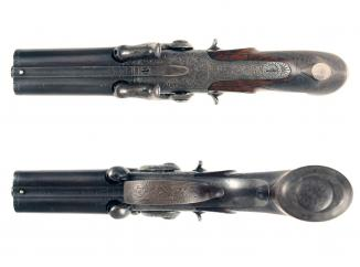 A Scarce 4-Barrel Percussion Pistol by Lang