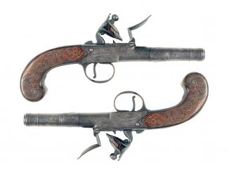 A Pair of Silver Inlaid Pocket Pistols by Joyner