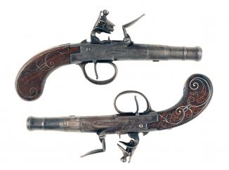 A Pair of Silver Mounted Pocket Pistols