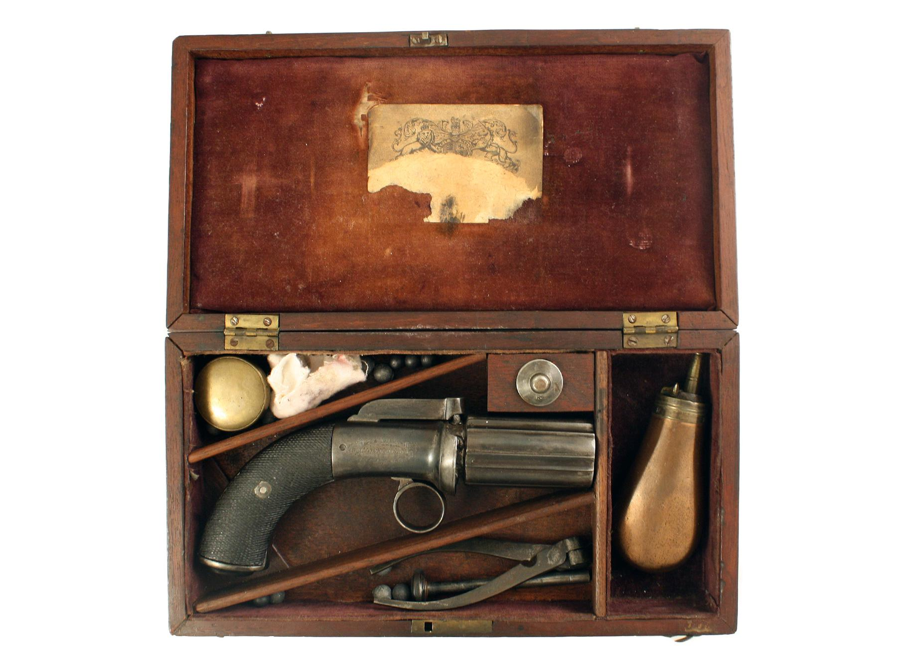 A Cased Pepperbox marked London