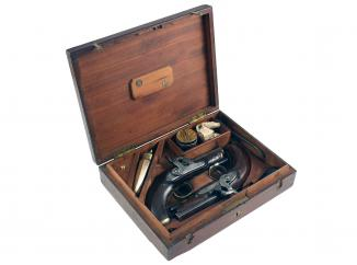 A Cased Pair of Percussion Pistols by Bond