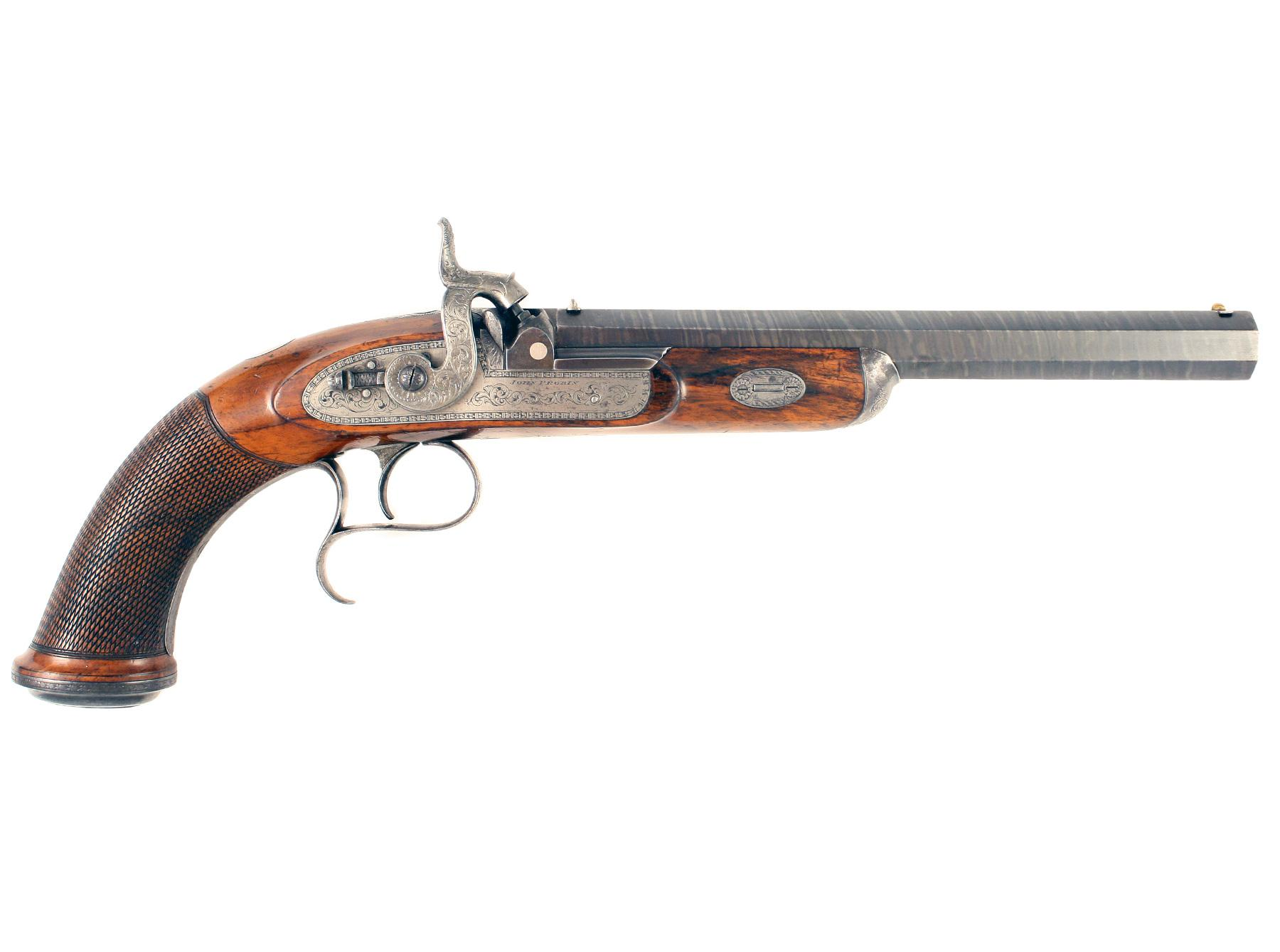 A Percussion Target Pistol by J. Probin.